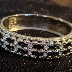 Silver & Black Bangle Bracelet